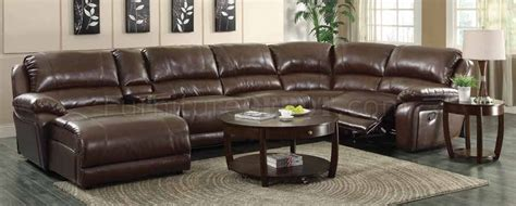 mackenzie motion sectional sofa 6pc chestnut 600357 by coaster