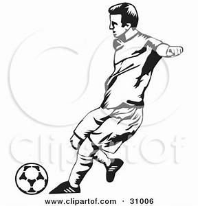 Clipart of a Black and White Sketched Boy Practicing with ...