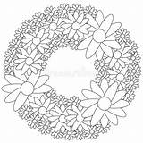 Wreath Coloring Floral Vector Illustration Royalty sketch template