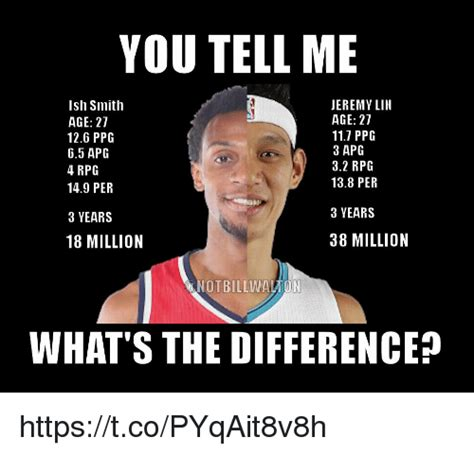 Jeremy Lin Meme - you tell me jeremy lin ish smith age 27 age 27 117 ppg 126 ppg 3 apg 65 apg 32 rpg 4 rpg 138 per
