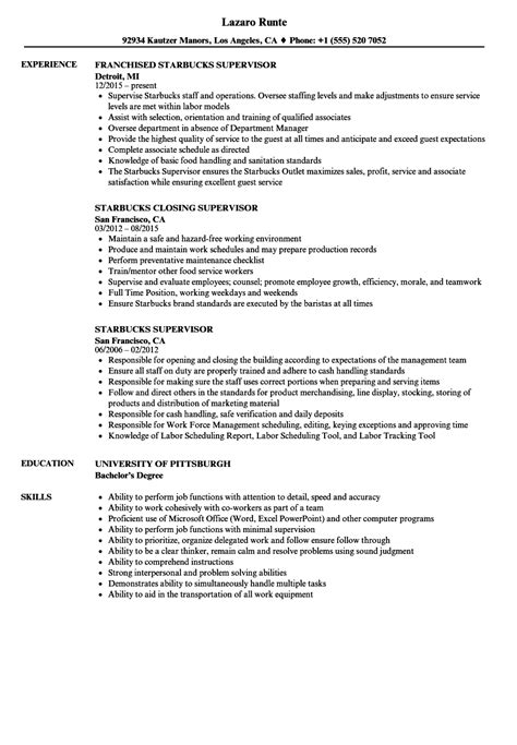 Sample Resume Supervisor Position Asafonggecco For