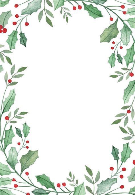 leaf holly border  christmas invitation template