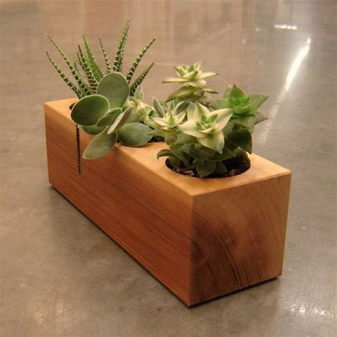 wooden succulent planter modern indoor flower pots a fresh accent to the home decor