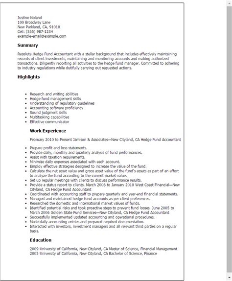 Hedge Fund Resume by Professional Hedge Fund Accountant Templates To Showcase Your Talent Myperfectresume