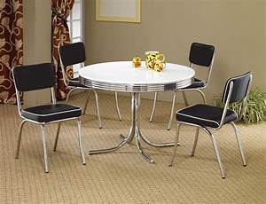 1950s style chrome retro dining table set black chairs for Furniture for kitchen diner