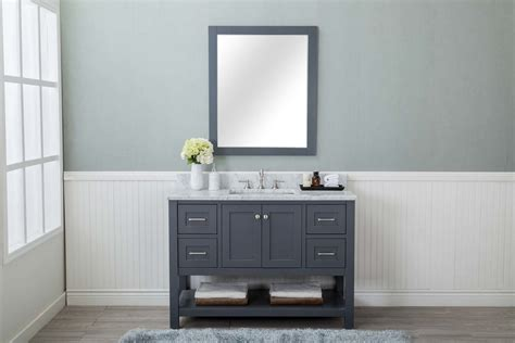 grey shaker  bathroom vanity  drawers  sink open