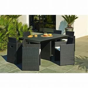 Salon De Jardin Encastrable Rsine Tresse Noir 1 Table