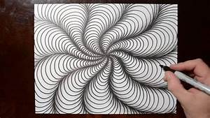 How to Draw Curved Line Illusions - Spiral Sketch Pattern ...