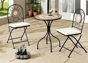 Mosaik Gartenmöbel Set : bistro set mosaik 3 teilig inklusive sitzkissen ~ Watch28wear.com Haus und Dekorationen