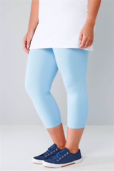 powder blue cotton elastane cropped leggings  size