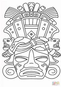 aztec mask template - mayan mask coloring page free printable coloring pages