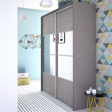 stickers facade cuisine porte de placard coulissante effet béton miroir spaceo l