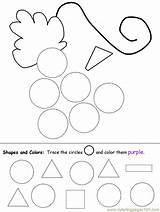 Circle Shapes Shape Worksheets Preschool Coloring Worksheet Circles Pages Grapes Practice Recognition Preschoolers Printable Activities Drawing Ws Circles3 Kindergarten Pre sketch template