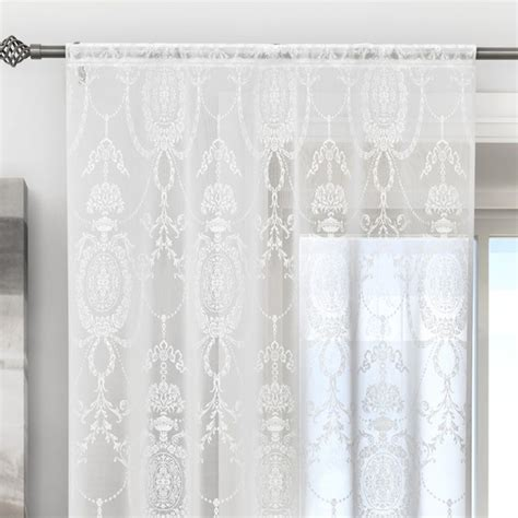 Holly Damask Laced White Voile Curtain Panel   Tonys Textiles