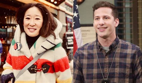 sandra oh oscars host golden globes goes with sandra oh and andy samberg as