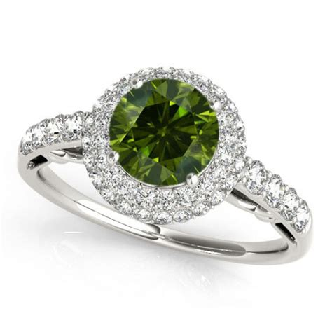 1 carat green diamond engagement ring best price 14k white