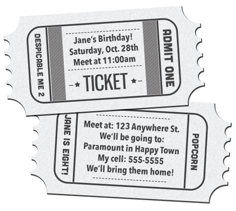 dinner ticket template word diy movie ticket birthday invitations printable free download