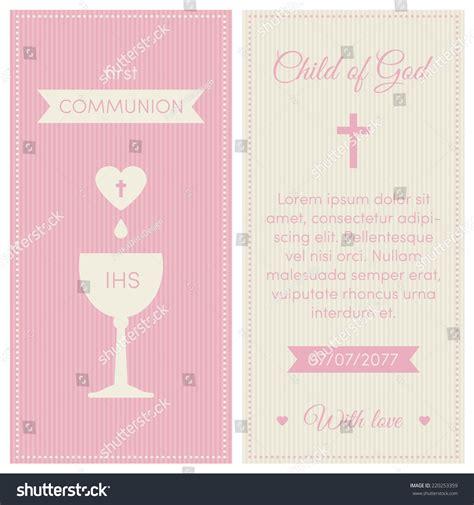 First Communion Invitation Template Pink Cream Stock