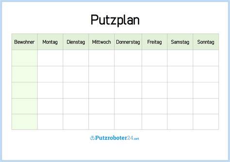 Wochenplan Haushalt Vorlage by Putzplan F 252 R Eine Woche Wg Variante Trash