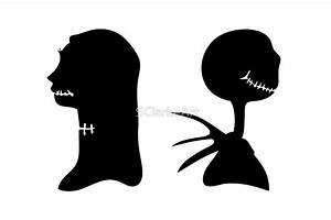 """""""Jack and Sally Victorian Halloween Silhouette"""" by"""