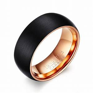 Black rose gold tungsten wedding band men tungsten ring for Tungsten wedding ring reviews