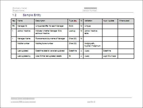 data dictionary template software requirements specification ms word template with use