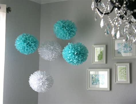 tiffany tissue paper poms wedding reception decor
