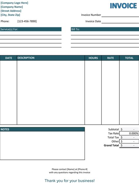 Service Template Excel 39 Best Templates Of Service Billing Invoice Exles Thogati