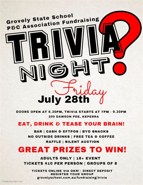 trivia night flyer templates trivia night grovely school p c