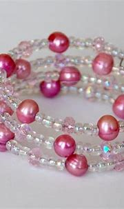 Pink pearl and crystal wrap bracelet   GlitterandFrills ...