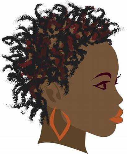 African Afro Woman Silhouette Braids Drawing Clip