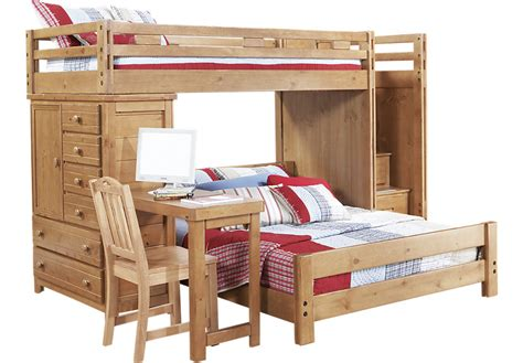 double bunk bed with desk creekside taffy twin full step bunk bed with desk and