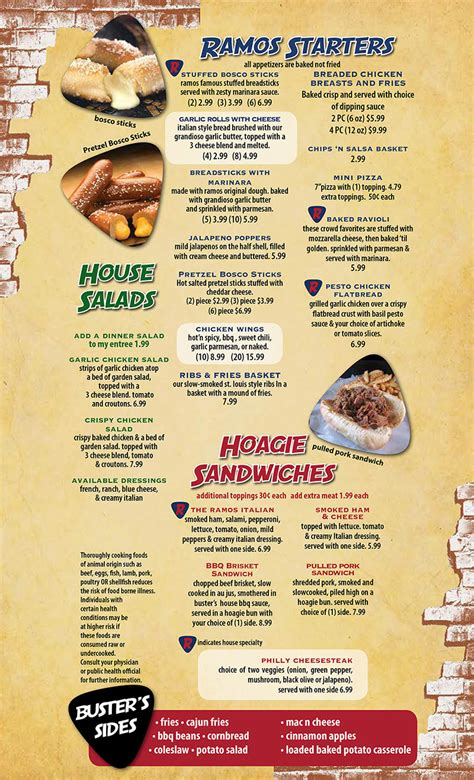 busters bbq ramos pizza menu    st lincoln