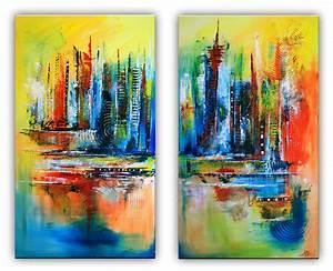 Abstrakte Bilder Acryl : himmelsleitern abstrakte malerei rot blau gelb zweiteilig burgstaller ~ Whattoseeinmadrid.com Haus und Dekorationen