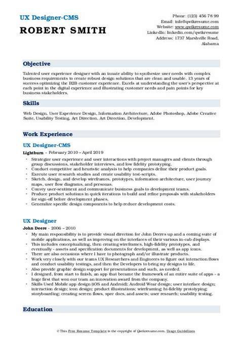 ux designer resume samples qwikresume