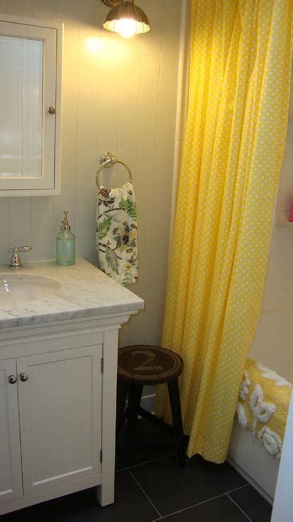yellow shower curtain cottage bathroom benjamin moore gray owl steward  design
