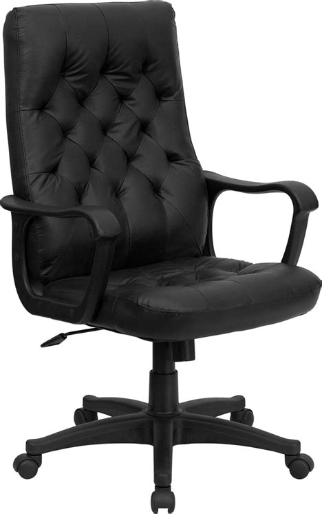 traditional washington black leather tufted home office