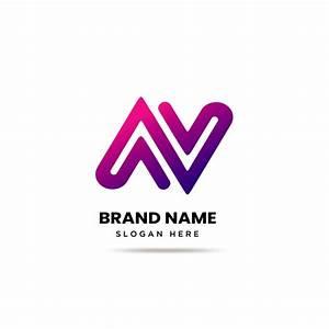 modern, letter, n, a, v, logo, template