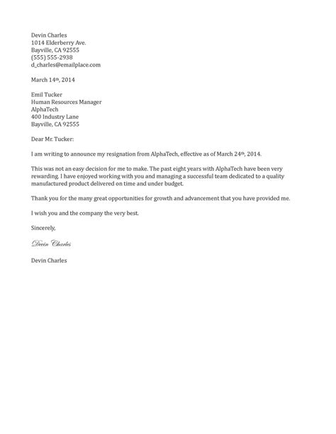 Resignation Letter Example TwoWriting A Letter Of Resignation Email Letter Sample