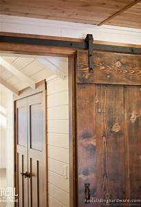 Custom douglas fir salvaged barn doors rustic hall for Custom barn door kits
