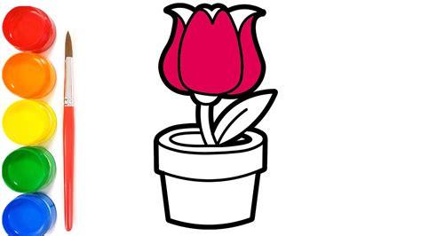 70 gambar mewarnai bunga dalam pot terbaik
