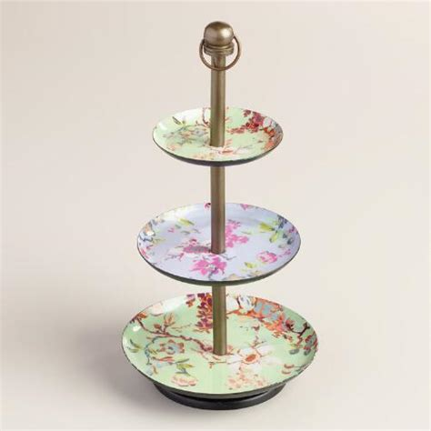 Mint Floral Enameled Three Tier Jewelry Stand  World Market