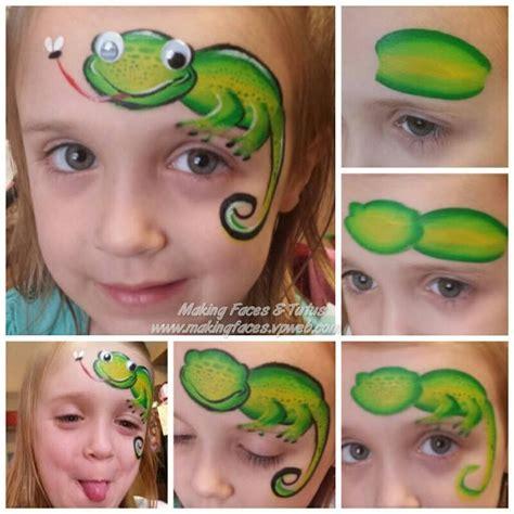 kinderschminken vir gesicht eidechse mit wackelauge facepainting kinderschminken