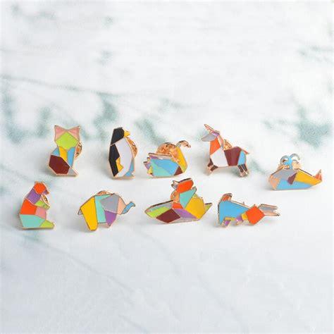 Origami Paper Folding Animal Enamel Lapel Pin Tangram