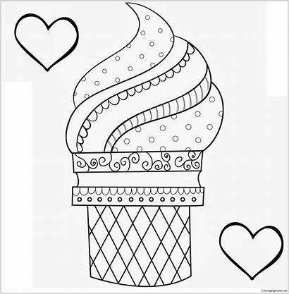 Coloring Ice Cream Pages Printable Cone Dessert