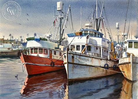 Quality Boat Salvage Pasadena California by Harbor Boats Art By John Bohnenberger California Watercolor
