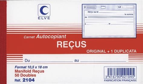bureau de douane carnet de reçus autocopiants marque elve en vente à lyon