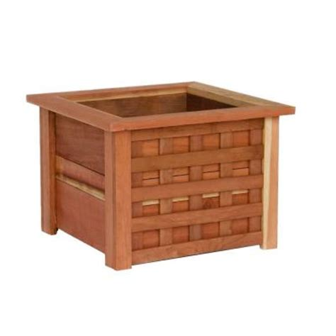 home depot planter box hollis wood products 22 in x 22 in redwood planter box