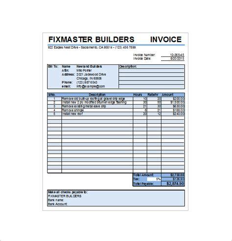 contractor receipt templates  excel