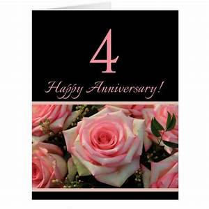 Happy 4th Anniversary roses Card | Zazzle